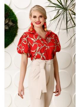 Camasa rosie cu guler model cu lanturi